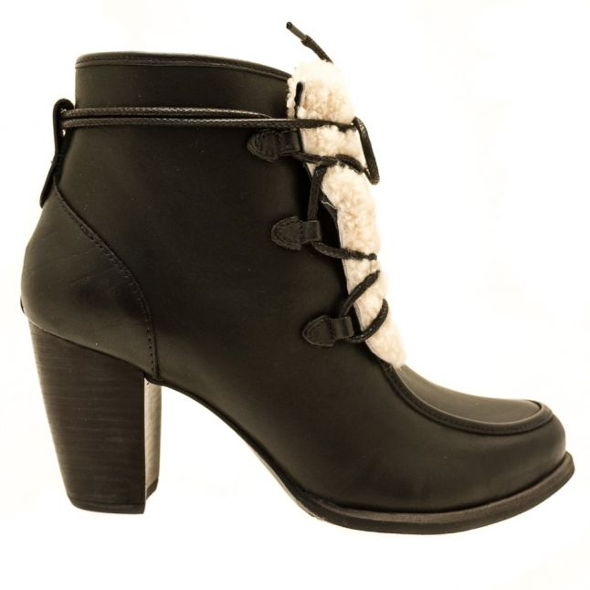 Womens Black & Natural Analise Exposed Fur Boots