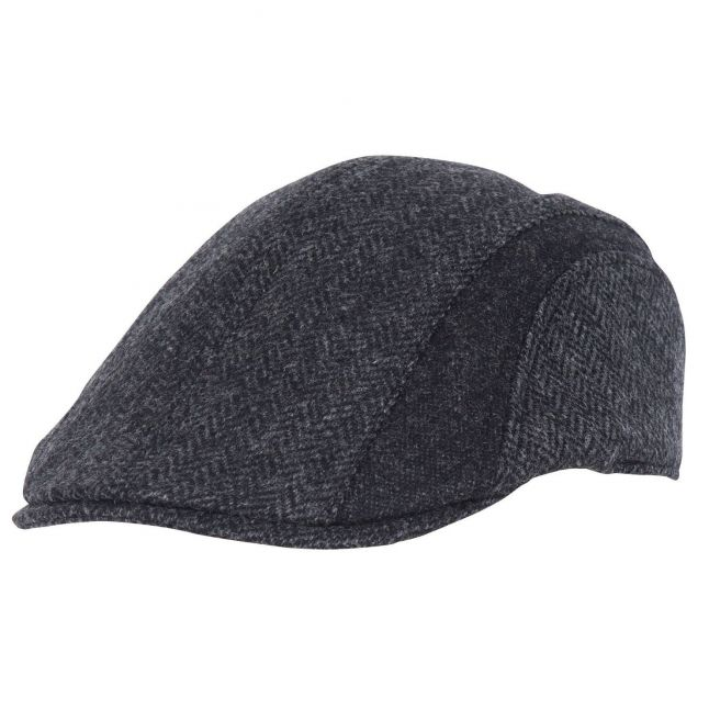 Mens Charcoal Herringbone Tweed Cap
