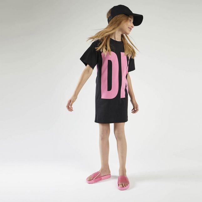 Girls Black Oversized Large Logo Dress
