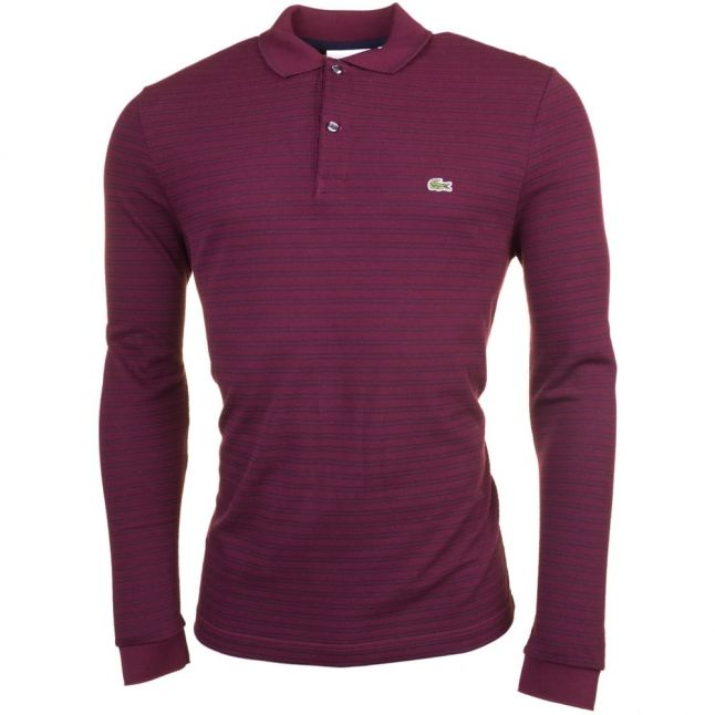 Mens Burgundy & Navy Fine Stripe L/s Polo Shirt