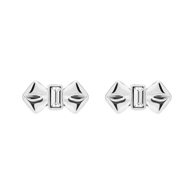 Womens Silver/Crystal Susli Solitaire Bow Studs