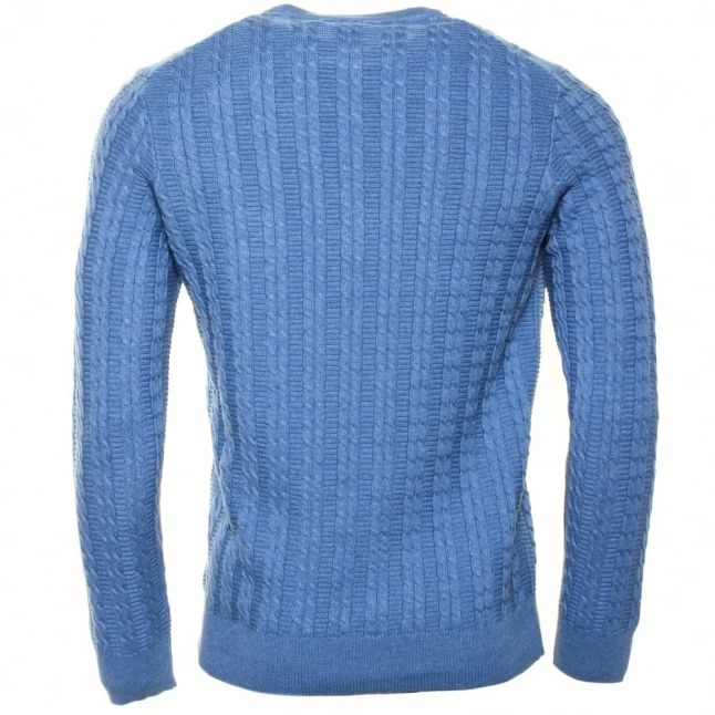 Mens Dusk Blue Cable Crew Knitted Jumper