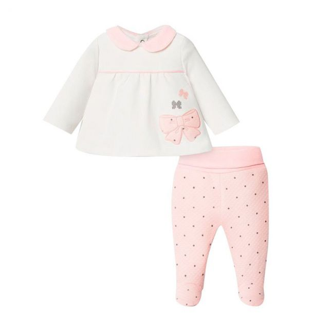 Baby Rose Bow Quilt Detail Top and Leggings Set
