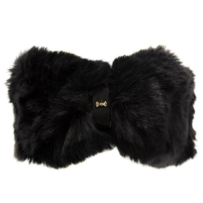 Womens Black Willa Faux Fur Headband