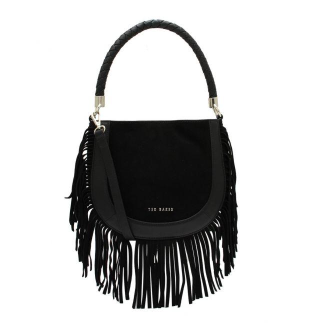 Womens Black Pinya Braided Handle Mini Hobo Bag