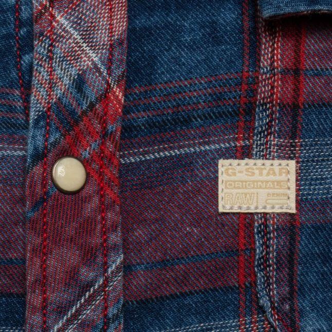 Mens Indigo & Anticred Landoh Flannel Check L/s Shirt