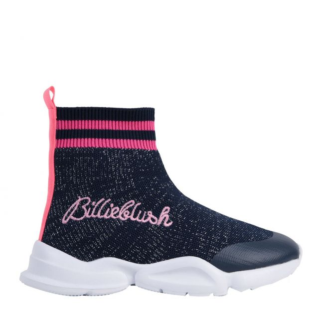Girls Navy Sock Knit Booties (29-38)