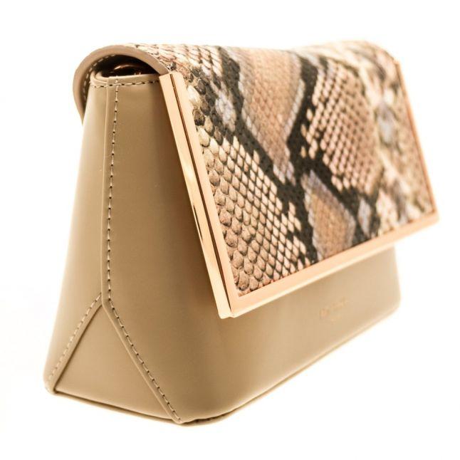 Womens Taupe Abby Metal Trim Detail Crossbody Bag
