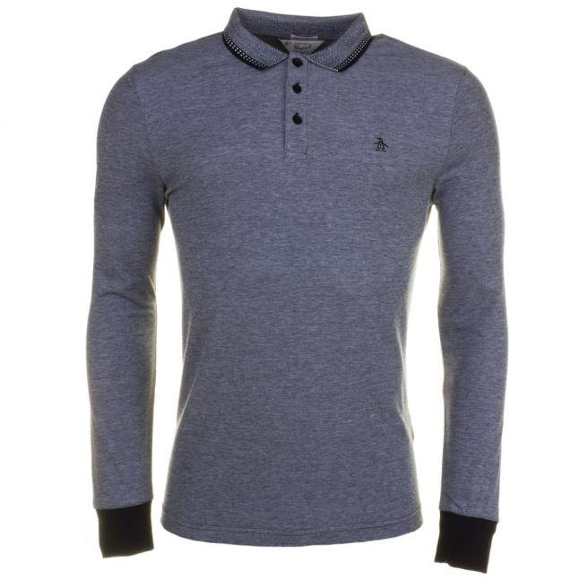 Mens True Black Tipped Birdseye L/s Polo Shirt