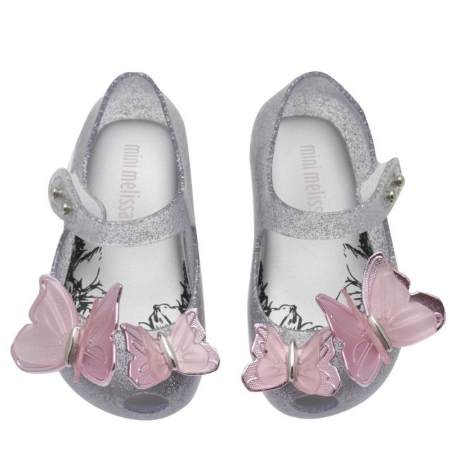 Girls Silver Glitter Mini Ultragirl Butterfly Shoes (4-11)
