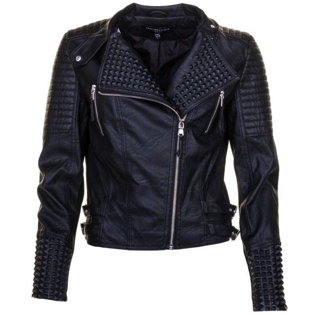 Womens Black Gigi PU Biker Jacket