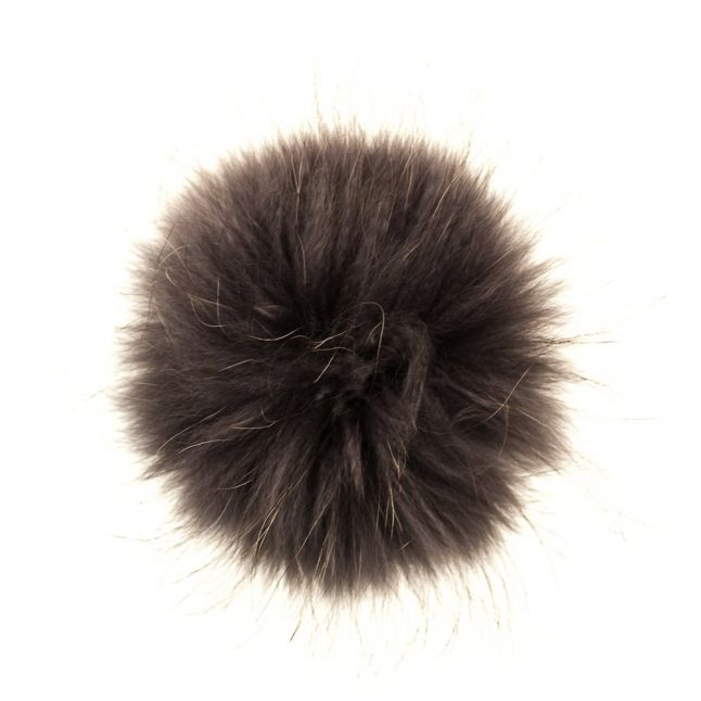 Womens Charcoal Fur Pom