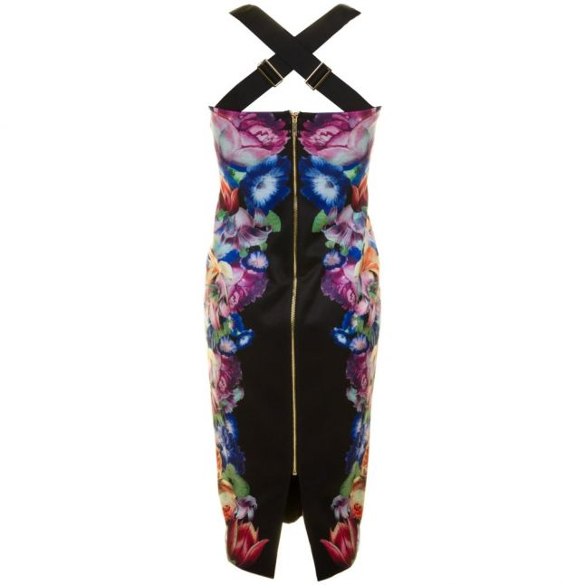 Womens Black Deony Tapestry Floral Buckle Dress