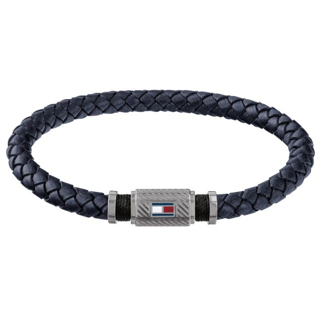 Mens Navy Rivet Braided Bracelet