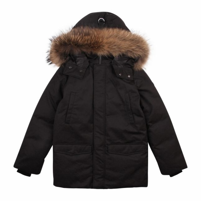 Boys Black Jo-R Fur Hooded Down Coat