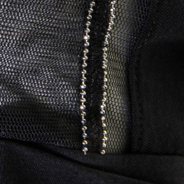 Womens Blue Mesh Detail S/s Tee Shirt