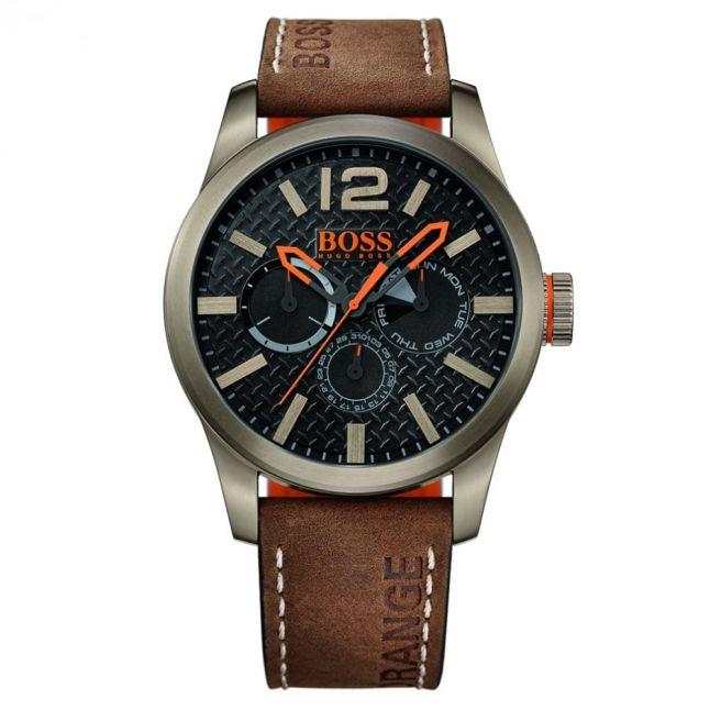 Mens Black Dial Paris Leather Strap Watch