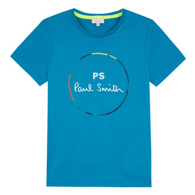 Boys Teal Vernier Circle Logo S/s T Shirt