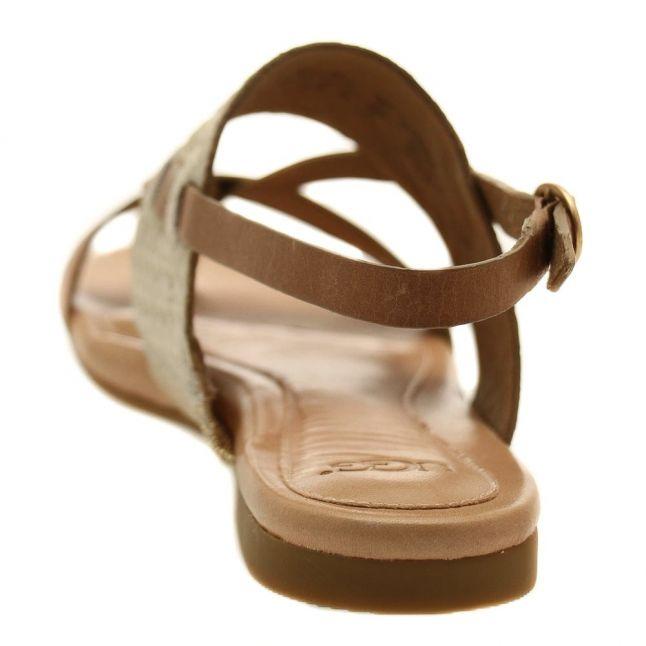 Womens Soft Gold Verona Metallic Basket Weave Sandals