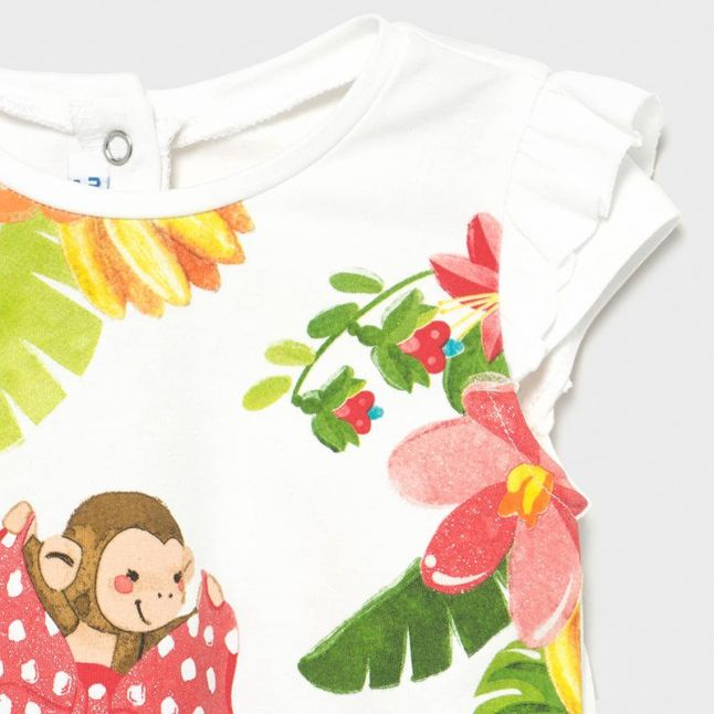 Infant Coral Monkey T Shirt & Leggings Set