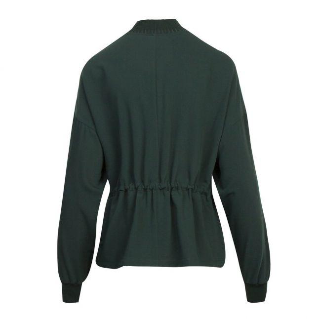 Womens Dark Green Biianka Zip Neck Draw-cord Top