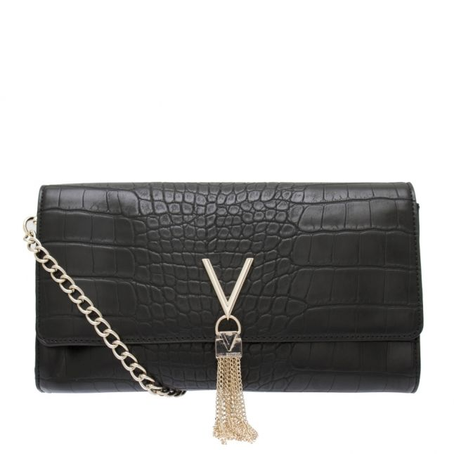 Womens Black Audrey Croc Tassel Clutch Bag