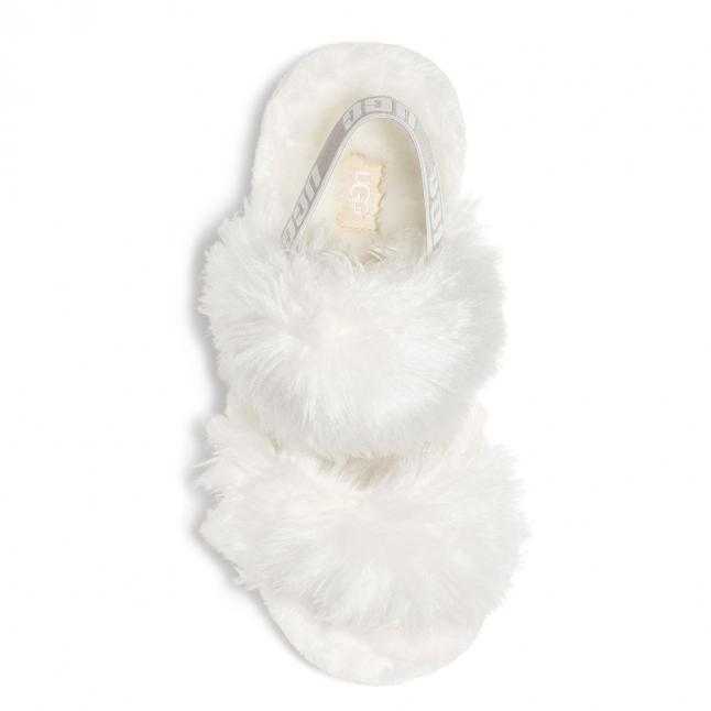 Womens White Fluff Sugar Sandal Slippers