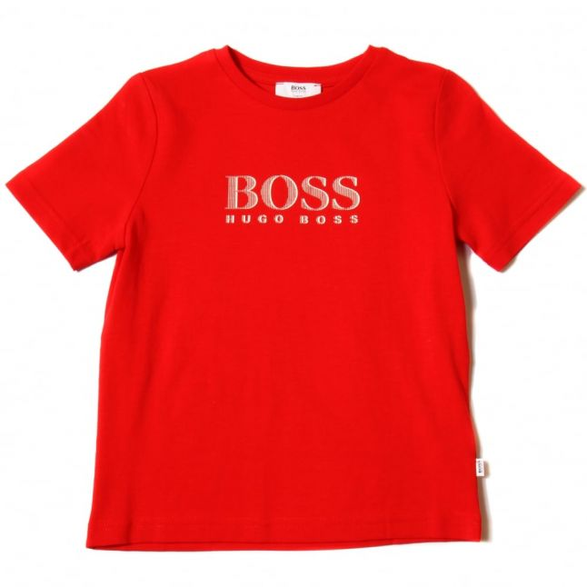 Boys Red Branded S/s Tee Shirt