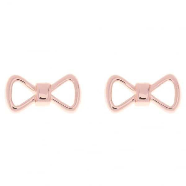 Womens Rose Gold Alie Bow Studs