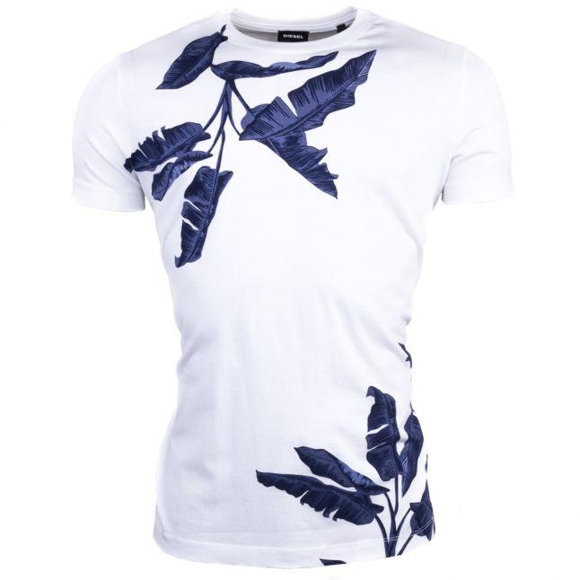 Mens White T-Diego-Mn Palm Print S/s Tee Shirt