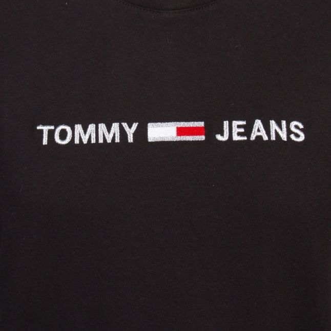 Womens Black Linear Logo S/s T Shirt