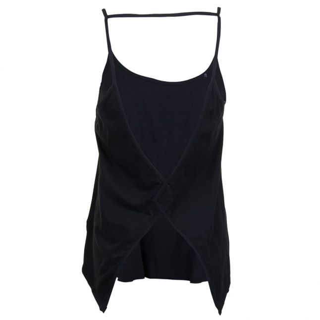Womens Black Open-Back Jersey Vest Top