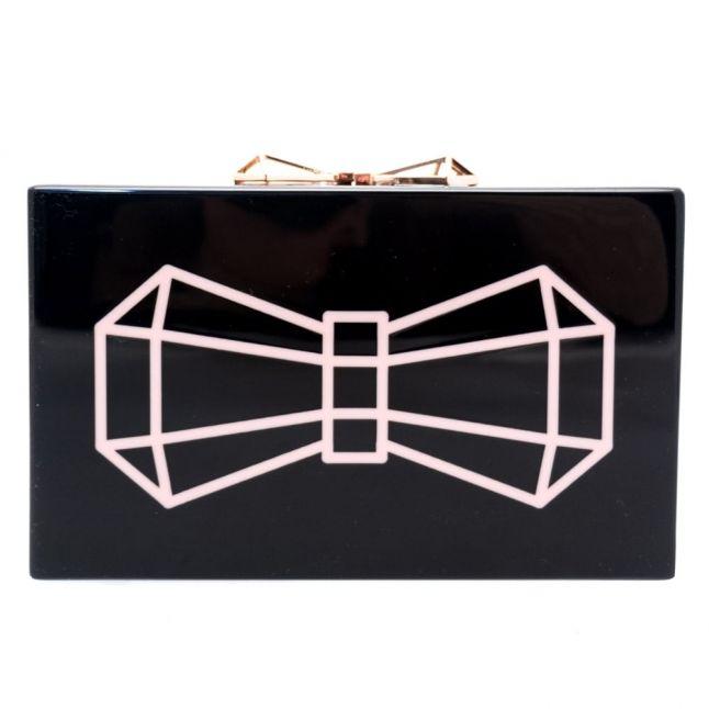 Womens Black Bowwe Bow Glitter Resin Clutch Bag