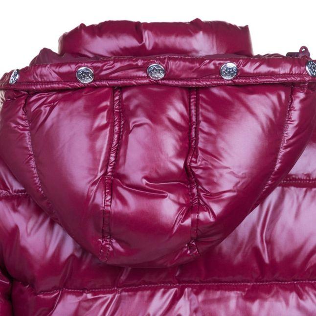 Womens Burgundy Authentic Fur Hooded Shiny Jacket