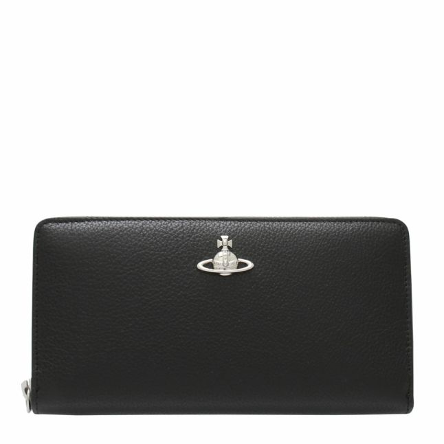 Womens Black Windsor Classic Zip Around Purse
