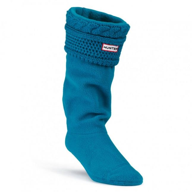Womens Feather Blue Tall Moss Cable Cuff Wellington Socks