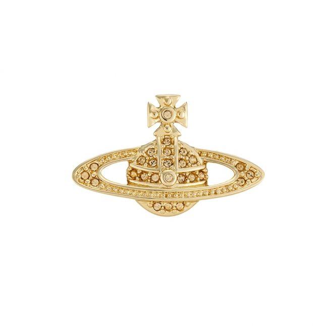 Womens Gold & Light Topaz Mini Bas Relief Clutch Pin
