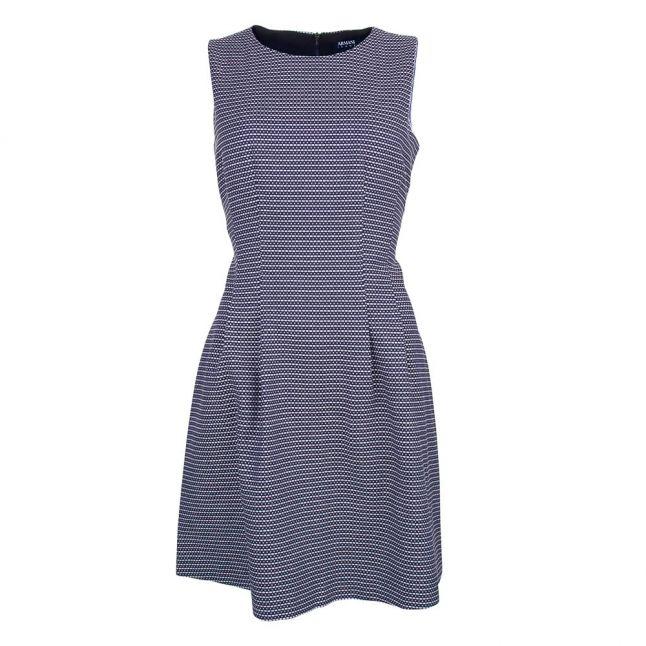 Womens Navy Textured Sleeveless Dress