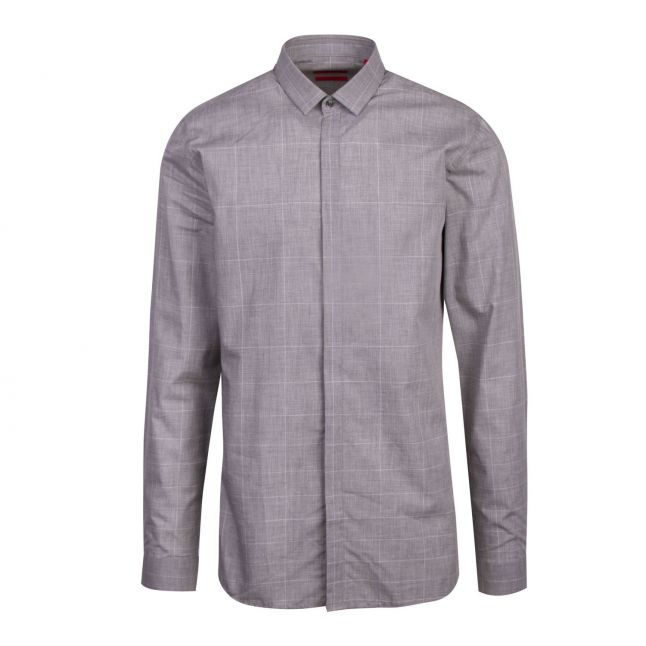 Mens Grey Etran Check Extra-Slim Fit L/s Shirt