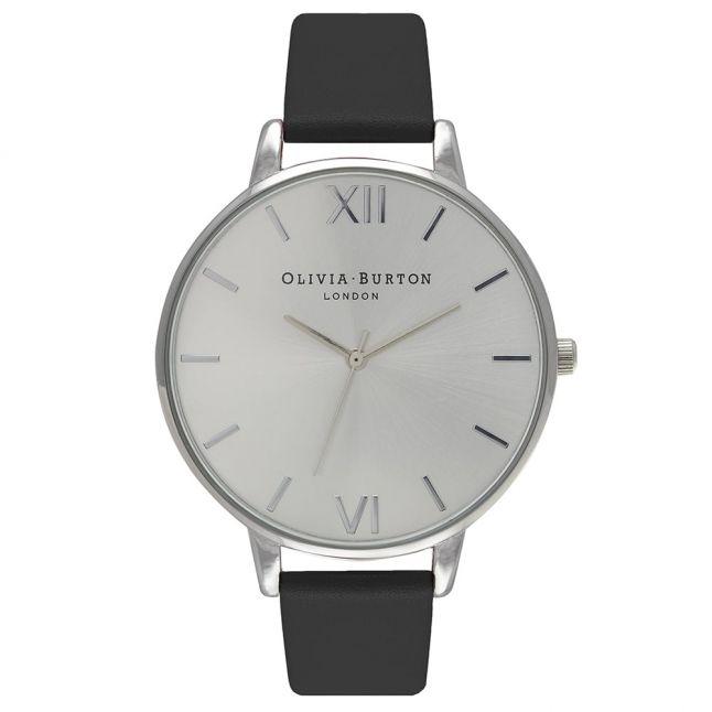 Womens Black & Silver Big Dial Watch