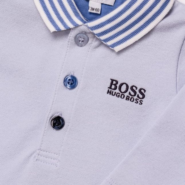 Baby Pale Blue Branded L/s Polo Shirt