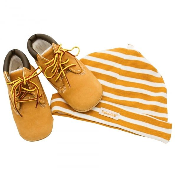 Baby Wheat Crib Bootie & Hat Set (0-4)