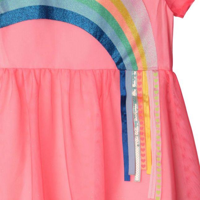 Girls Pink Rainbow Net Dress