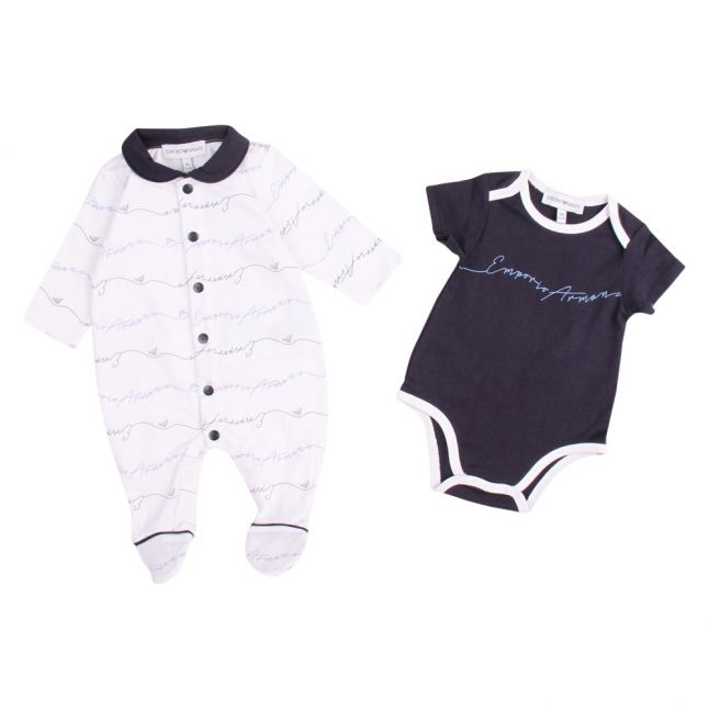 Baby White/Navy Take Me Home Script Set