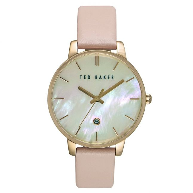 Womens Mother Of Pearl Dial Pink Leather Strap Watch