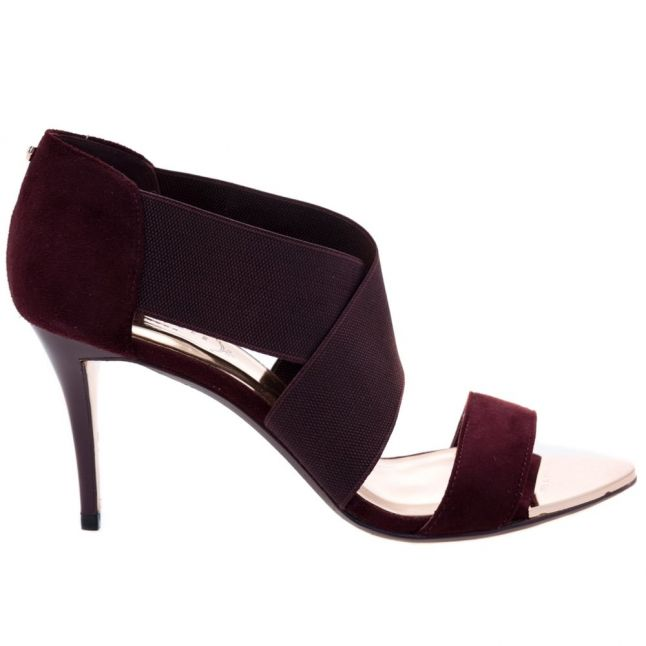 Womens Burgundy Suede Leniya Heeled Sandals