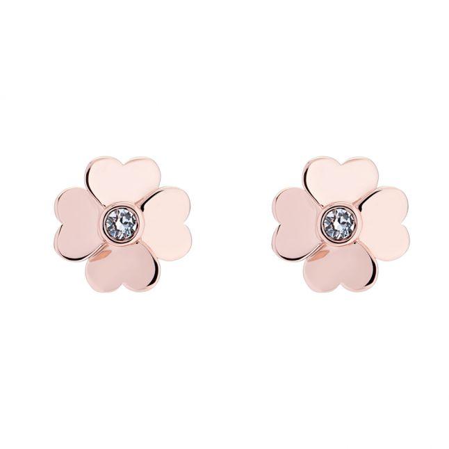 Ted Baker Womens Rose Gold Crystal Hamzi Heart Flower Earrings Hurleys