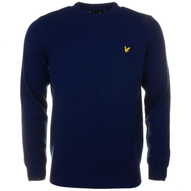 Mens Navy Lambswool Knitted Jumper