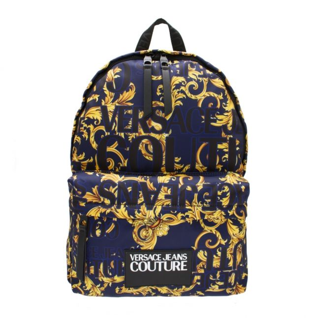 Mens Dark Blue Baroque Logo Backpack