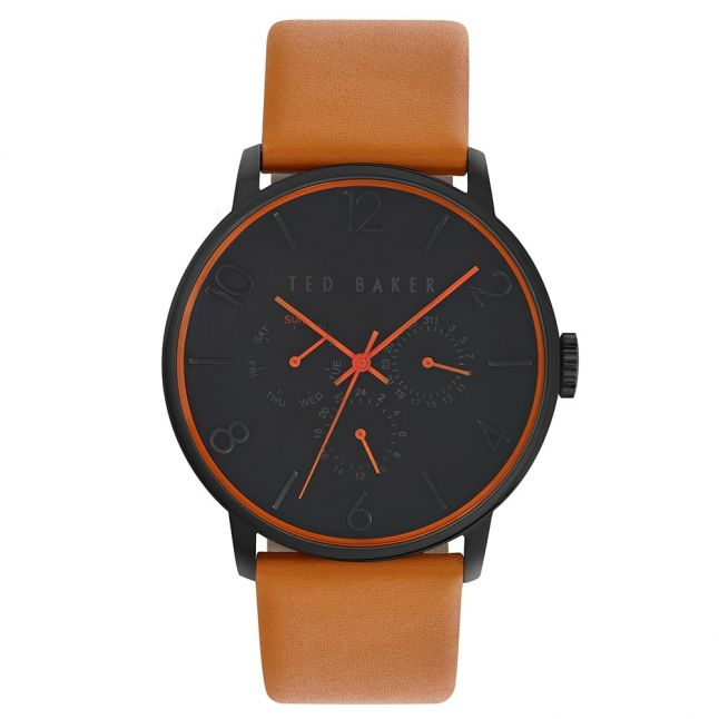 Mens Black & Tan Multifunction Movement Leather Strap Watch